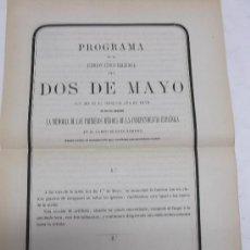 Coleccionismo: (MADRID) PROGRAMA FUNCION CIVICO RELIGIOSA DEL DOS DE MAYO, 1870 PARA HONRAR HEROES INDEPENDENCIA,. Lote 38095067