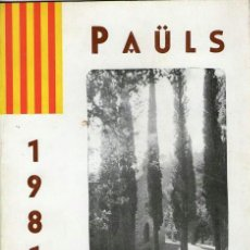Coleccionismo: PROGRAMA FESTA MAJOR - PAÜLS - ANY 1981. Lote 38121328