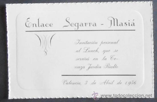 4045 Tarjeta De Invitacion A Boda Terraza Jardin Rialto Valencia 1956