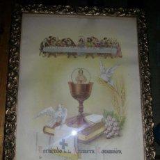 Coleccionismo: ANTIGUO CUADRO RECUERDO PRIMERA COMUNIÓN AÑOS 50 CON MARCO DE EPOCA. Lote 38340242