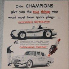 Coleccionismo: ANUNCIO AMERICANO DE CHAMPIONS, 1955. Lote 38377049