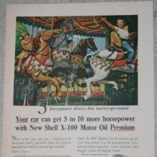 Coleccionismo: ANUNCIO AMERICANO DE ACEITE DE MOTOR SHELL, 1955. Lote 38377108