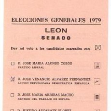 Coleccionismo: PAPELETA ELECCIONES GENERALES 1979 SENADO - LEON. Lote 38390070