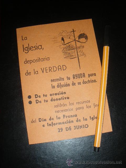 DIA DE LA PRENSA E INFORMACION DE LA IGLESIA. 29 JUNIO. (Coleccionismo - Laminas, Programas y Otros Documentos)