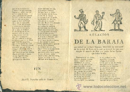 PAPEL SUELTO. RELACIÓN DE LA BARAJA CON LAS IMAGENES DE LA MISA. CURIOSO IMPRESO, FINES S. XVIII. (Coleccionismo - Laminas, Programas y Otros Documentos)