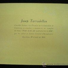 Coleccionismo: GUERRA CIVIL. TARJETÓN PRESENTACIÓN LIBRO. JOSEP TARRADELLAS. BARCELONA,1937.. Lote 38513291
