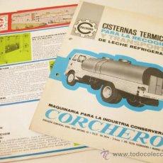 Collezionismo: DOS HOJAS PUBLICITARIAS DE CONSTRUCCION DE CISTERNAS CORCHERO - CAMION PEGASO. Lote 39008846