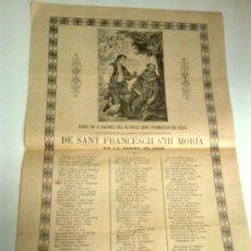 Coleccionismo: GOIGS EN ALABANSA DEL GLORIOS SANT FRANCESCH DE ASSIS... VIC : IMP. ANGLADA, 1884.. Lote 38579060