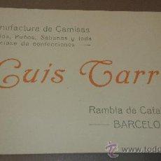 Coleccionismo: ANTIGUA TARJETA PUBLICITARIA CAMISERIA CONFECCIONES LUIS TARRES BARCELONA. Lote 38598886