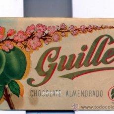 Coleccionismo: ANTIGUA ETIQUETA DE PUBLICIDAD CHOCOLATE ALMENDRADO GUILLEN,152X80MM, RARA. Lote 50487218