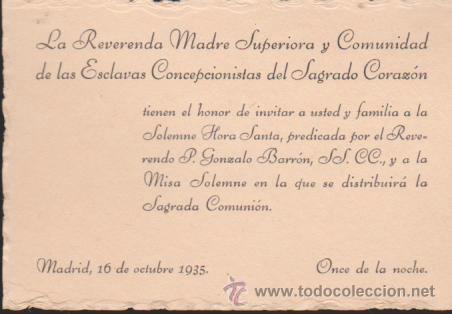 Tarjeta Invitación A Una Misa En Madrid En 1935