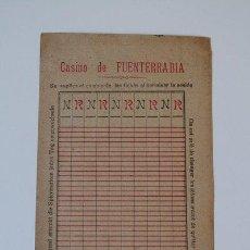 Coleccionismo: IMPRESO DEL CASINO DE FUENTERRABÍA. SIGLO XIX.. Lote 39228576