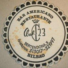 Coleccionismo: POSAVASOS BAR AMERICANO RESTAURANTE CLUB 23. BILBAO. AÑOS 80. Lote 39209311