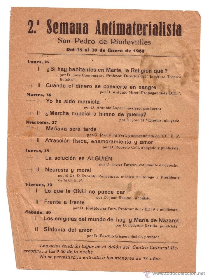 HOJA VOLANTE: PROGRAMA DE LA 2ª SEMANA ANTIMATERIALISTA. SAN PEDRO DE RIUDEVITLLES, 1960. (Coleccionismo - Laminas, Programas y Otros Documentos)