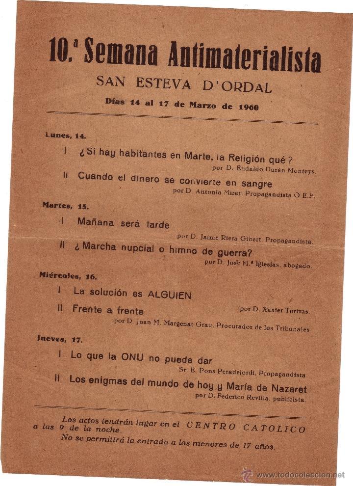 HOJA VOLANTE: PROGRAMA DE LA 10ª SEMANA ANTIMATERIALISTA. SAN ESTEVA D'ORDAL, 1960. (Coleccionismo - Laminas, Programas y Otros Documentos)