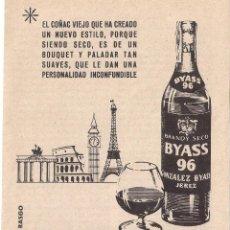 Coleccionismo: ANUNCIO DE BRANY COÑAC BYASS 96, DE GONZALEZ BYASS, NOVIEMBRE DE 1960. Lote 39367879