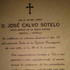 Coleccionismo: INVITACION A LOS FUNERALES POR CALVO SOTELO EN ABARAN MURCIA 1939. Lote 39570037
