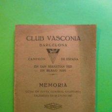 Coleccionismo: CLUB VASCONIA BARCELONA MEMORIA 29 DE ENERO DE 1927. Lote 39778616