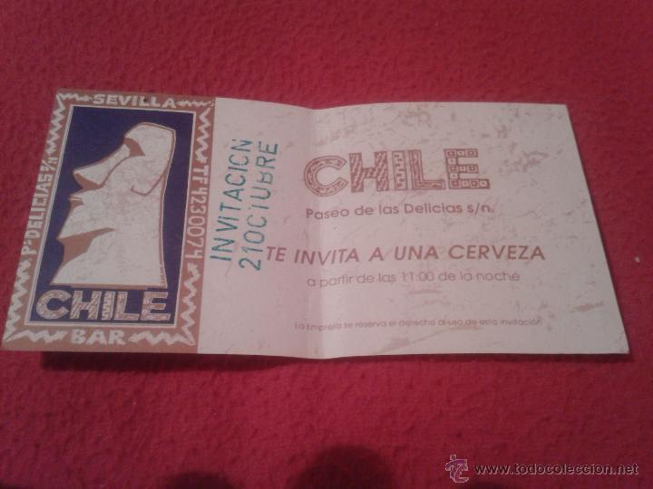 CURIOSO TICKET VALE INVITACIÓN A UNA CERVEZA BEER BAR CHILE PASEO DE LAS DELICIAS SEVILLA.MOAI.1993 (Coleccionismo - Laminas, Programas y Otros Documentos)