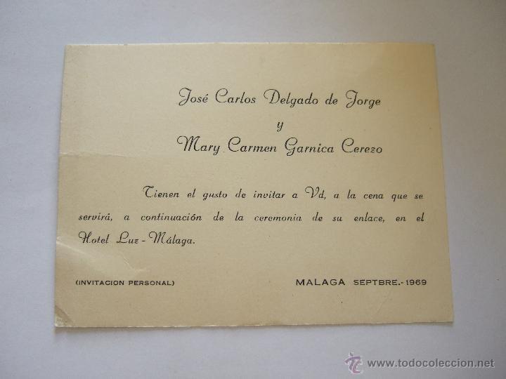 Tarjeta Invitacion Personal Cena Banquete De Boda 1969