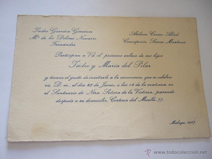 Tarjeta Invitacion De Boda Malaga 1947