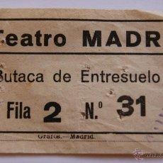 Coleccionismo: ENTRADA TEATRO MADRID - FECHA MAYO DE 1956. Lote 40764694