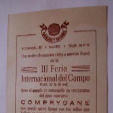 Coleccionismo: TARJETA PREMIOS CHOCOLATES BELVIS Y VITA-CAL MUY ANTIGUO CONCURSO COMPRYGANE. Lote 40766338