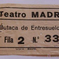Coleccionismo: ANTIGUA ENTRADA TEATRO MADRID - MAYO DE 1956. Lote 40773300