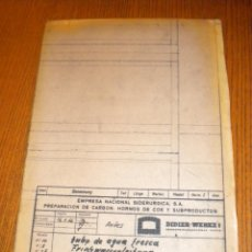 Coleccionismo: PLANO ENSIDESA EMPRESA NACIONAL SIDERURGICA / DIDIER-WERKE / TUBO DE AGUA FRESCA / 1966 / 119X85 CM. Lote 41243642