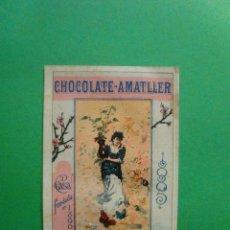 Coleccionismo: TARJETA PUBLICITARIA CHOCOLATE AMATLLER 1885 IMPRESA A DOS CARAS. Lote 41249497