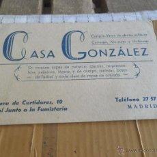 Coleccionismo: TARJETA CASA GONZALEZ COMPRA VENTA DE EFECTOS MILITARES MADRID. Lote 42210891