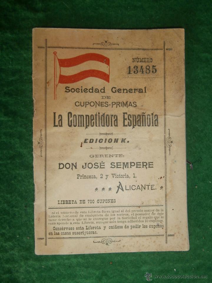 SOCIEDAD GENERAL DE CUPONES PRIMAS ALICANTE LIBRETA PARA 700 CUPONES A ESTRENAR VER FOTOS (Coleccionismo - Laminas, Programas y Otros Documentos)