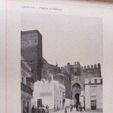 Coleccionismo: CARMONA SEVILLA PUERTA DE SEVILLA ANTIGUA LAMINA HUECOGRABADO 1910 . Lote 42665351