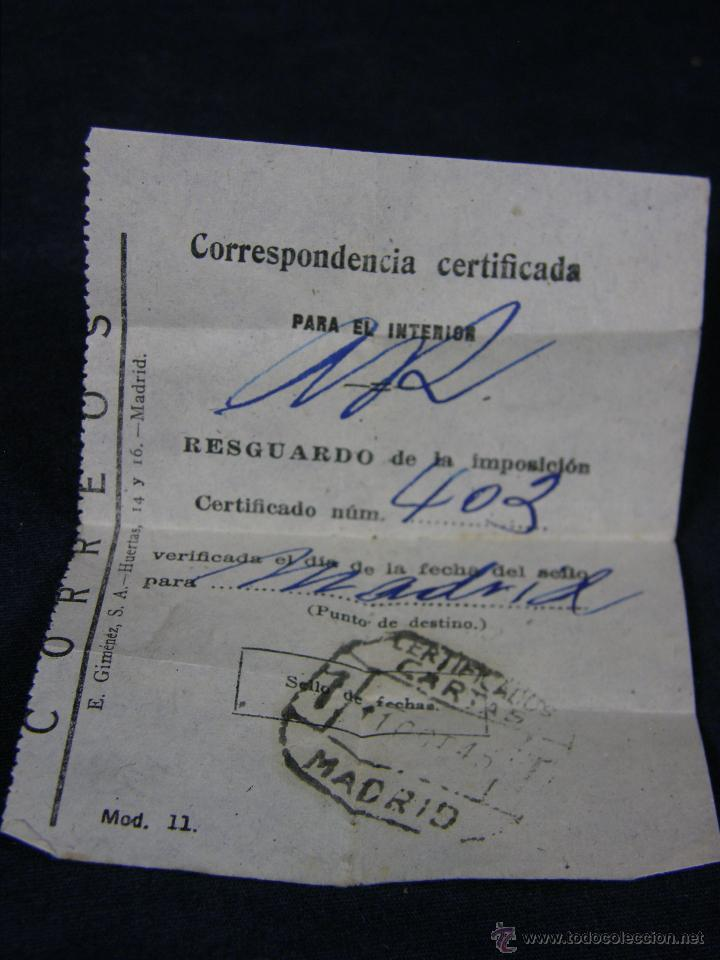RESGUARDO CORREOS CORRESPONDENCIA CERTIFICADA MADRID 11 OCTUBRE 1945 CERTIFICADO CARTAS MADRID (Coleccionismo - Laminas, Programas y Otros Documentos)