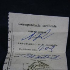 Coleccionismo: RESGUARDO CORREOS CORRESPONDENCIA CERTIFICADA MADRID 11 OCTUBRE 1945 CERTIFICADO CARTAS MADRID. Lote 42757652