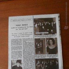 Coleccionismo: RECORTE DE PRENSA ORIGINAL: TONY RENIS GANADOR DE SAN REMO. Lote 42809407
