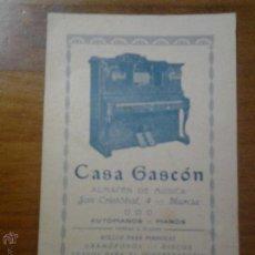 Coleccionismo: ANTIGUA TARJETA PUBLICITARIA CASA GASCON ALMACEN DE MUSICA PIANOS GRAMOFONOS MURCIA. Lote 42980605