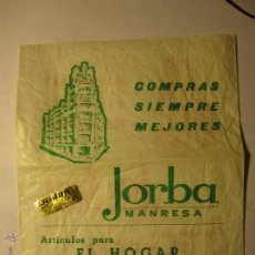 Coleccionismo: SOBRE BOLSA ALMACENES JORBA MANRESA. Lote 40547223