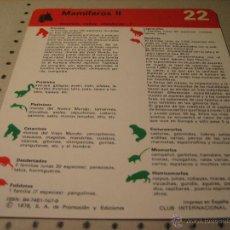 Coleccionismo: FICHA ANIMALES 1978, SAPE.- NUMERO 22 MAMIFEROS II. Lote 43013247