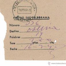 Coleccionismo: RECIBO DE TELEGRAMA ANTIGUO AÑO 1948 CURIOSO. Lote 43239114