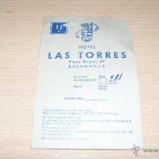 Coleccionismo: TARJETA DE HOTEL LAS TORRES DE SALAMANCA AÑO 1975 CON TARIFA DE PRECIOS.. Lote 43440519