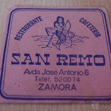 Coleccionismo: POSAVASOS ANTIGUO AÑOS 60 SAN REMO ZAMORA. Lote 43529962