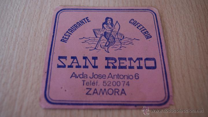 Coleccionismo: Posavasos antiguo años 60 San Remo Zamora - Foto 3 - 43529962