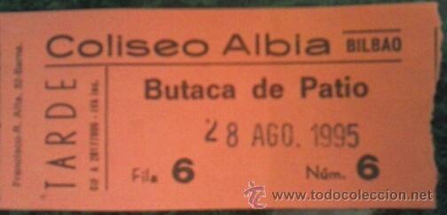 ENTRADA COLISEO ALBIA DE BILBAO (Coleccionismo - Laminas, Programas y Otros Documentos)