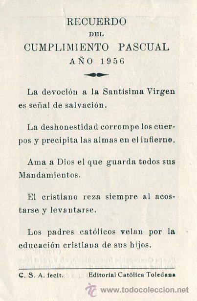 Coleccionismo: Antigua estampa recordatorio, del cumplimiento pascual año 1956 - Foto 2 - 44157951