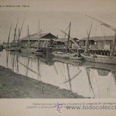 Coleccionismo: HUELVA MUELLE DEL DIQUE ANTIGUO HUECOGRABADO HACIA 1910. Lote 44194660