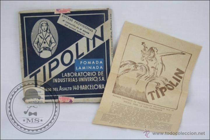 ANTIGUO MEDICAMENTO POMADA LAMINADA TIPOLÍN. ENVASE PROVISIONAL - MEDIDAS 12 X 12 CM (Coleccionismos - Varios)