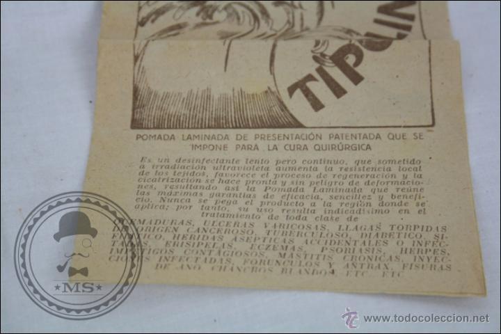 Coleccionismo: Antiguo Medicamento Pomada Laminada Tipolín. Envase Provisional - Medidas 12 x 12 Cm - Foto 2 - 109771360