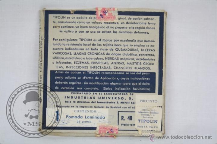 Coleccionismo: Antiguo Medicamento Pomada Laminada Tipolín. Envase Provisional - Medidas 12 x 12 Cm - Foto 4 - 109771360
