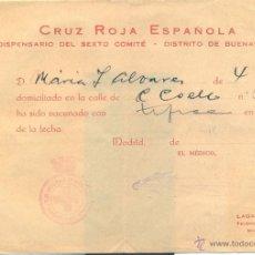 Coleccionismo: GUERRA CIVIL,1937, JUSTIFICANTE VACUNACION CRUZ ROJA, MADRID. Lote 44694448